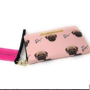 Betsey Johnson Pink Pug Wristlet Wallet NWT